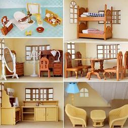 Miniature Doll House Furniture Set Kitchen Living Bathroom k