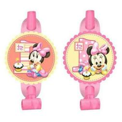 8 Count Minnie's 1st Birthday Blowouts, Pink
