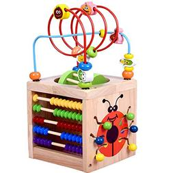 Amagoing 6-in-1 Activity Cube Multifunction Bead Maze Roller