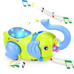 XREXS Musical Baby Toy,360°Tipping Bucket Elephant Car Toy