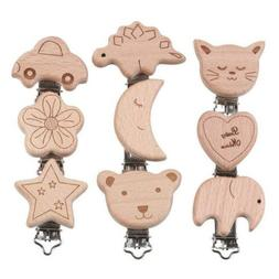 Natural Wood Cartoon Pacifier Clip DIY Baby molar Teether ch