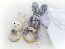 Natural Wooden Baby Toys Cotton Crochet Bunny Teething Ring