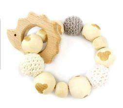 New! Baby Love Home Hedgehog Wooden Teether Baby Gym Rattle