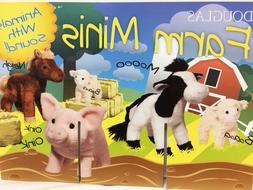 New Douglas Mini Plush Stuffed Farm Animal Toys Cow, Lamb, P