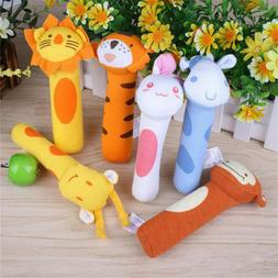 Newborn Baby Kids Animal Plush Rattles Hand Bells Sound Funn