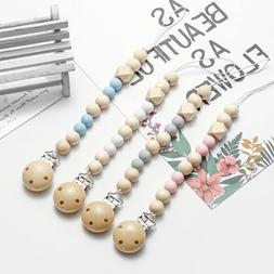 Baby Child Pacifier Clip Chain Holder Wood Silicone Beads Ni