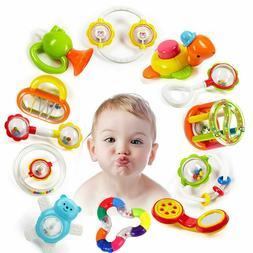 Newborn Boys Girls Rattle Toys Hand Bells Teething Developme
