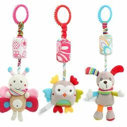 Newborn Plush Stroller Toys Baby Rattles Animal Hanging Bell