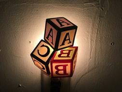 NIB Childrens Toy Blocks ABC's Baby Nursery Night Light by I