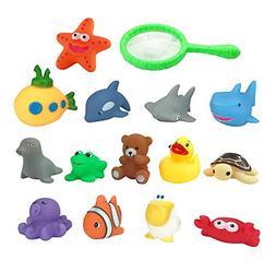 Set of 15 Ocean Animals Water Squirties Fun Floating Bath Sq