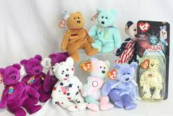 Ty Original Beanie Babies Bears Lot Of 9 Plush Toys Includin