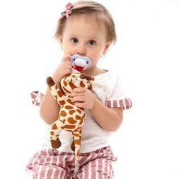 Pacifier Holder Baby Rattle Toys Animal Handbells Plush Baby