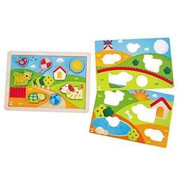 Hape Kids Pepe & Friends 3-1 Puzzle Wood Puzzle