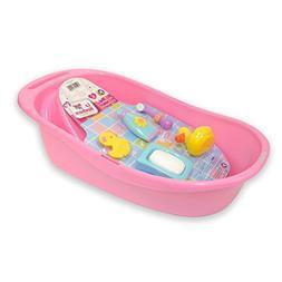 JC Toys 7-Piece Pink Baby Doll Bath Gift Set Fits Most Dolls