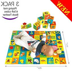 MACIK PlayingMat+6 soft blocks for baby Toy SET+Book-teether