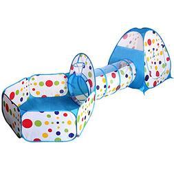 EocuSun Polka Dot 3-in-1 Folding Kids Play Tent with Tunnel,
