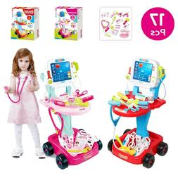 Portable Doctor Nurse Medical Trolley Toys Girl Pretend Play