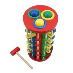 Pound and Roll Wooden Tower with Hammer Knock the Ball Off L