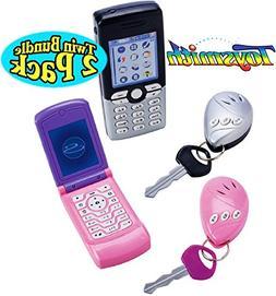 """Toysmith """"On The Go"""" Pretend Play Cell Phone & Car Key Alarm"""