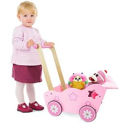 Imagination Generation Pretty in Pink Wooden Stroller, Compa