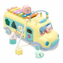 Pull Along School Bus Toy with Xylophone, Shape Sorter For B
