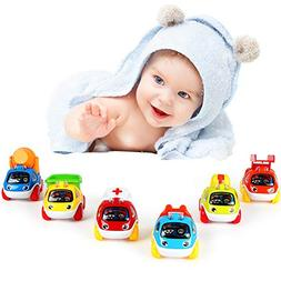 LUKAT Pull Back Cars Toys for 1 2 3 year old Baby Mini Cars