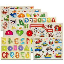 Puzzle Hand Grab Board Set Educational Wooden Toys For Child