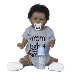 """Reborn Dolls Boy African American Dolls 22"""" Full Body Silico"""