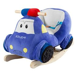 Happy Trails Rocking Police Car Toy- Kids Plush Stuffed Ride