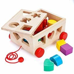 MojiDecor Shape Sorter Toy Wooden Toys Car, Stacking Cups Sh