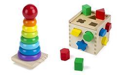 Melissa & Doug Shape Sorting Cube Rainbow Stacker Wooden Rin