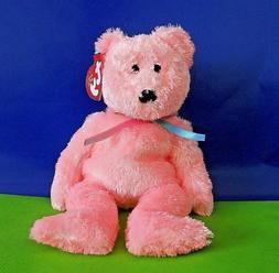 "SHERBET TY PINK BEANIE BABY BEAR 8.5"" inch MWMT'S DOB: 11-26"