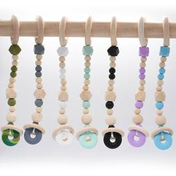 Silicone Teething Beads Natural Wood Baby Teether Stroller R