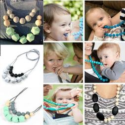 Silicone Teething Chew Necklace Pendant Teether BPA Free Aut