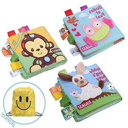 JUOIFIP Soft Baby Cloth Activity Crinkle Book Set Fabric Non