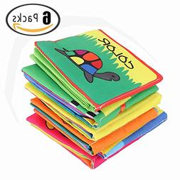 Looching Pack of 6 Baby's Soft Cloth Nontoxic Fabric Book Se