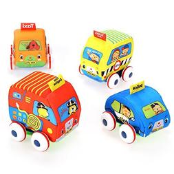 Soft Cute Baby Educational Toys DIY 4pcs Mini Pull-Back Auto