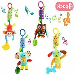 4 PCS Baby Soft Hanging Rattle Crinkle Squeaky Toy - Animal