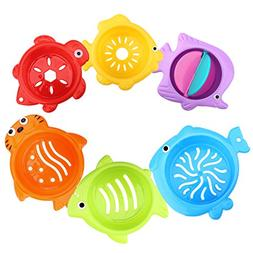 Zooawa Stacked Cup Baby Bath Toys, Toddler Sea Animals Shape