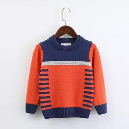 fumak Boys Sweater O-Neck Warm Outerwear 2 Color Patchwork B