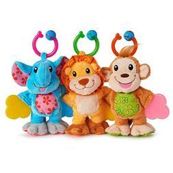 Munchkin Teether Babies Plush Teething Toy, Lion, Elephant a