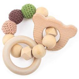 Baby Nature Teether Grasping Toys Cartoon Animal Bear Shape