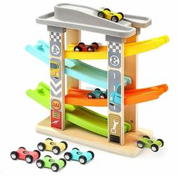 Toddler Car Toys for 1 2 Year Old, 4 Mini Cars Wooden Race T