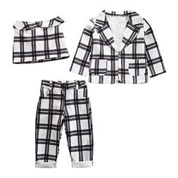 3Piece Toddler Baby Girls Outfits Set 2Y-7Y,Plaid Long Sleev