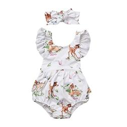 FEITONG Toddler Infant Baby Girl Clothes Christmas Deer Romp