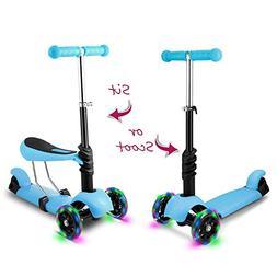 Hikole Kids Toddler Kick Scooter with Seat   Three-Wheeled M