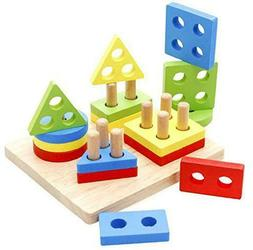 toddler toys wooden educational preschool shape color