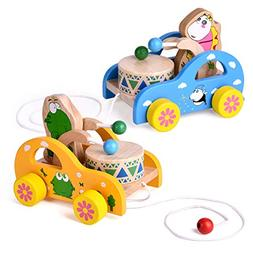2 Pack Toddler Toys, Wooden Pull Toys for Kids, Animal Pull-
