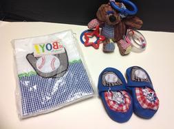 TOY BEAR & BOOTIES & BURP Mud Pie Baby BOYS 0-6 M NEW Gift L