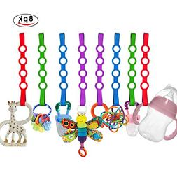 Baby Toy Straps, 8 Pack Stretchable Silicone Pacifier Clips